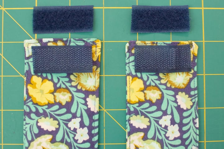 Cut velcro pieces for the tiebacks