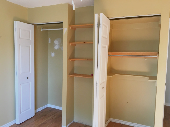 Before shot of two closets with bifolds, one broken