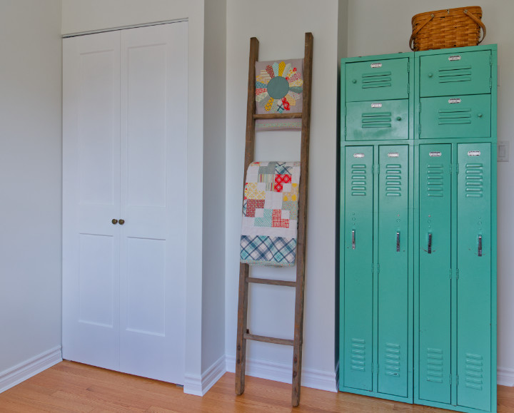 After shot of new closet doors and bright lockers