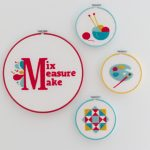 Grouping of 4 Felt Art Hoops on the wall