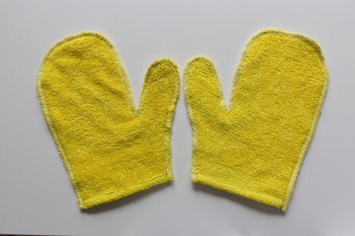 Serged raw edges of easy diy plant dusting gloves