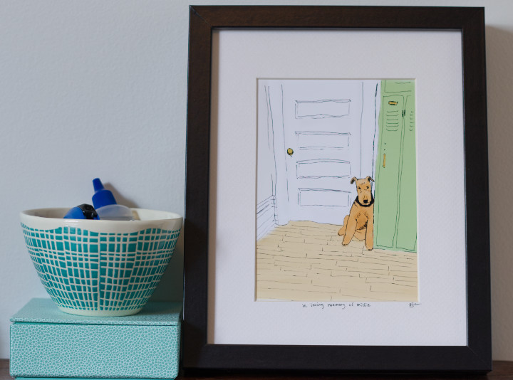 Drawing of a dog beside vintage lockers