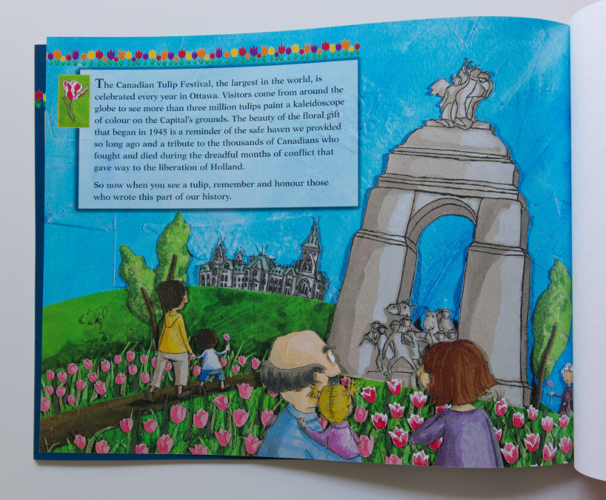 The last book page of A Bloom of Friendship discussing the importance of the Tulip Festival to the friendship between Canada and Holland