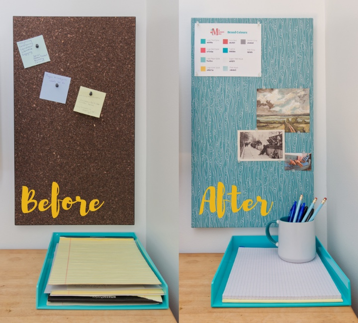 Before shot of a dark brown bulletin board beside an after shot of a bulletin board covered in aqua fabric with a white wood grain pattern.
