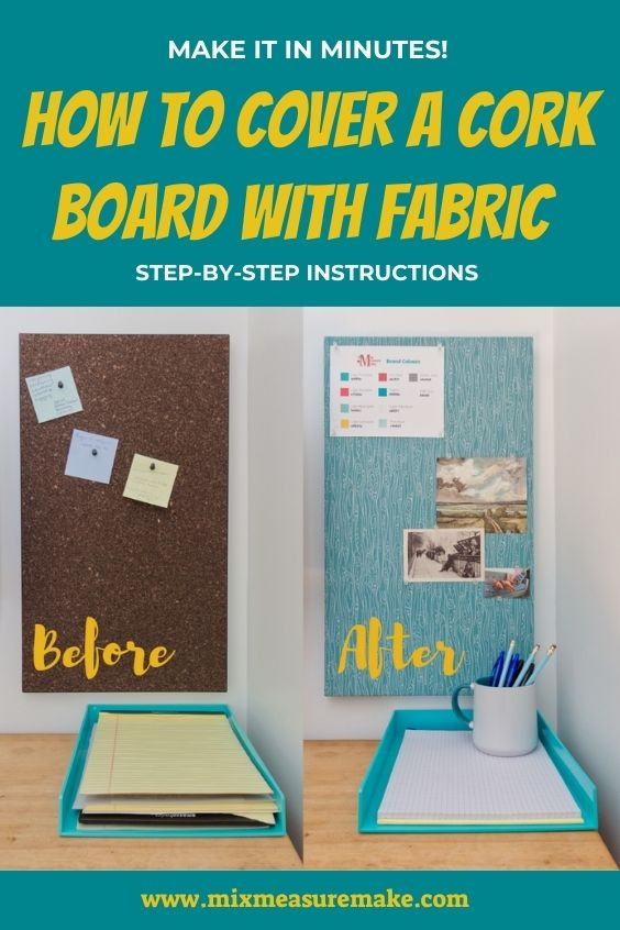 Fabric covered cork board Pinterest Pin