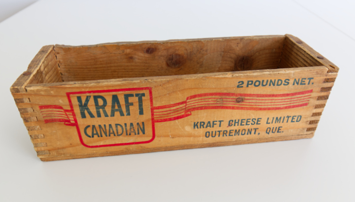 An old wooden Kraft Canadian cheese box