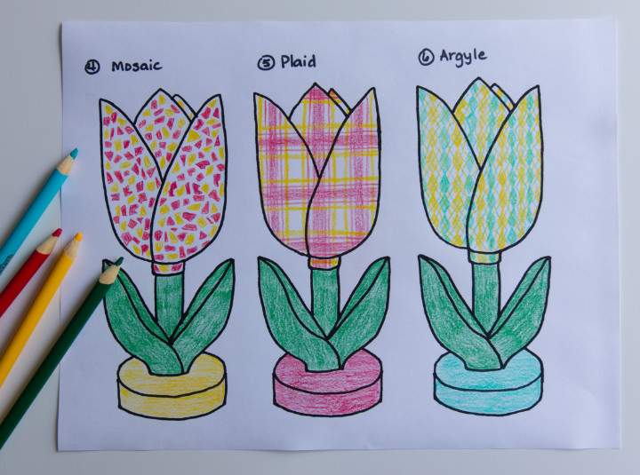 Three sketches of tulips coloured in pencil crayons, one like red and yellow mosaic tiles, one red and yellow plaid, and one yellow and turquoise argyle diamonds