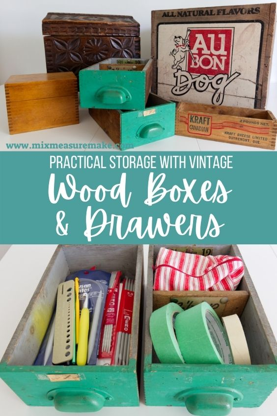 Storage with Wood Boxes and Drawers Pinterest Pin
