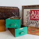 Stacks of vintage wood boxes and drawers, chest, and recipe box