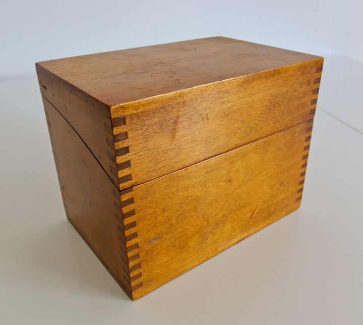 Old wood recipe box with finger joints at the corners