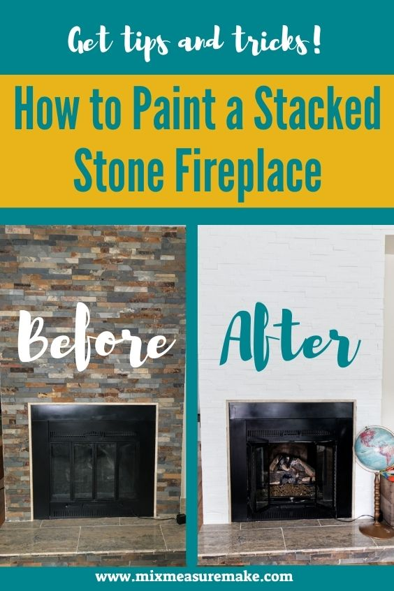 How to Paint a Stacked Stone Fireplace Pinterest Pin with Before and After shots side by side