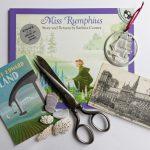 Miss Rumphius book, vintage Notre Dame postcard, vintage scissors, PEI art card, pewter ship ornament, shells