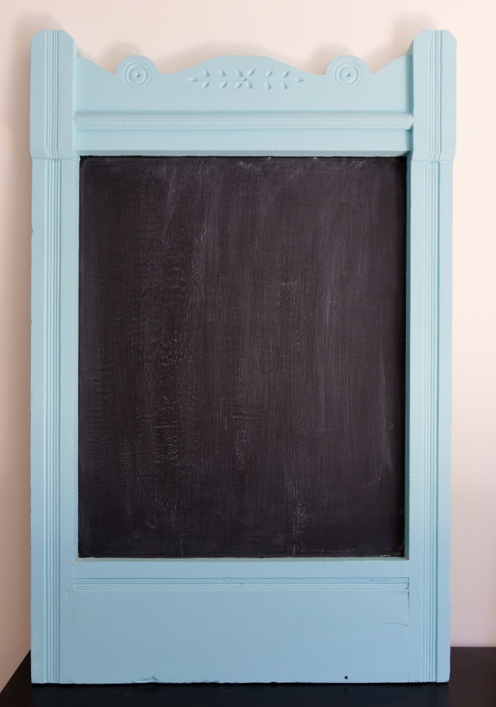 A vintage chalkboard in an old window frame, painted aqua