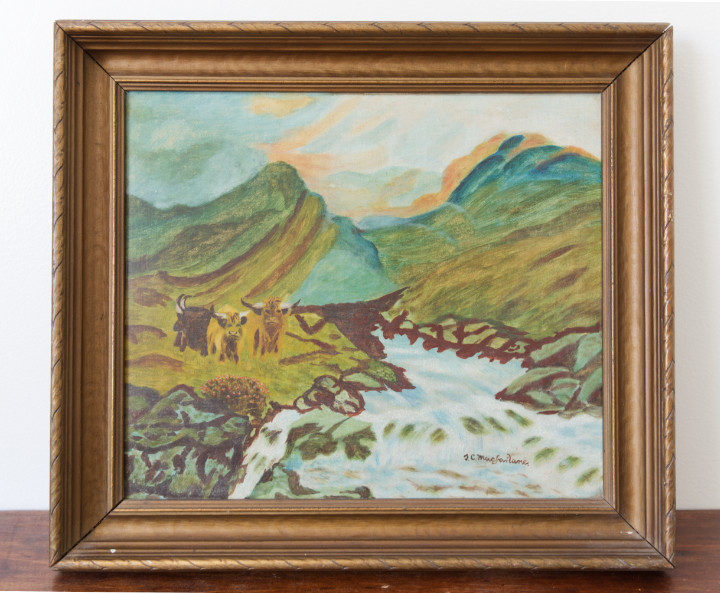 Reasons to buy vintage decor: Having unique items, such as this painting in a gold frame of mountains, a stream over rocks, and some yaks