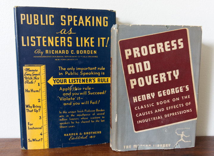 Vintage books as decor for art - Two books with dust jackets with bold text - Public Speaking as Listeners Like It and Progress and Poverty, covers are like graphic advertising style