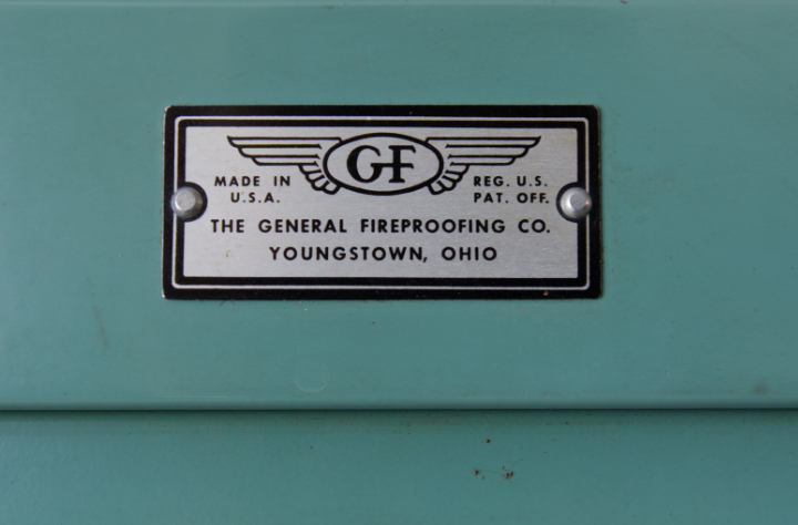 Label on barrister bookcase - The General Fireproofing Co Youngstown Ohio