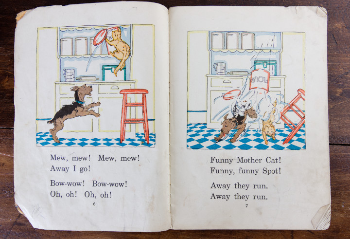 Inside page of the Spot reading primer - Spot is getting into trouble with a cat