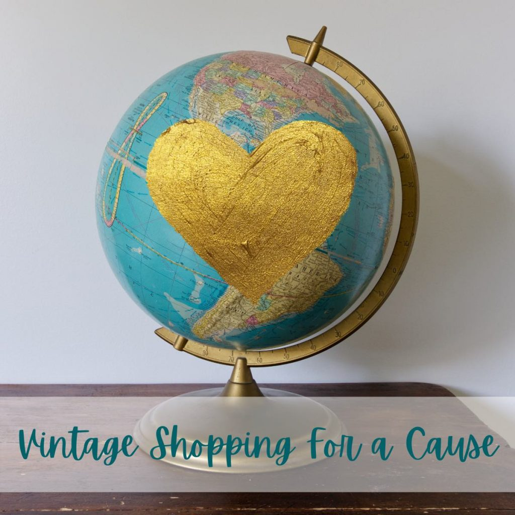 A vintage glove with a gold heart over it, text below reads Vintage Shopping for A Cause