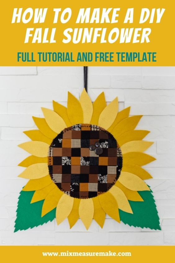 A photo of the DIY fall sunflower - Pinterest Graphic