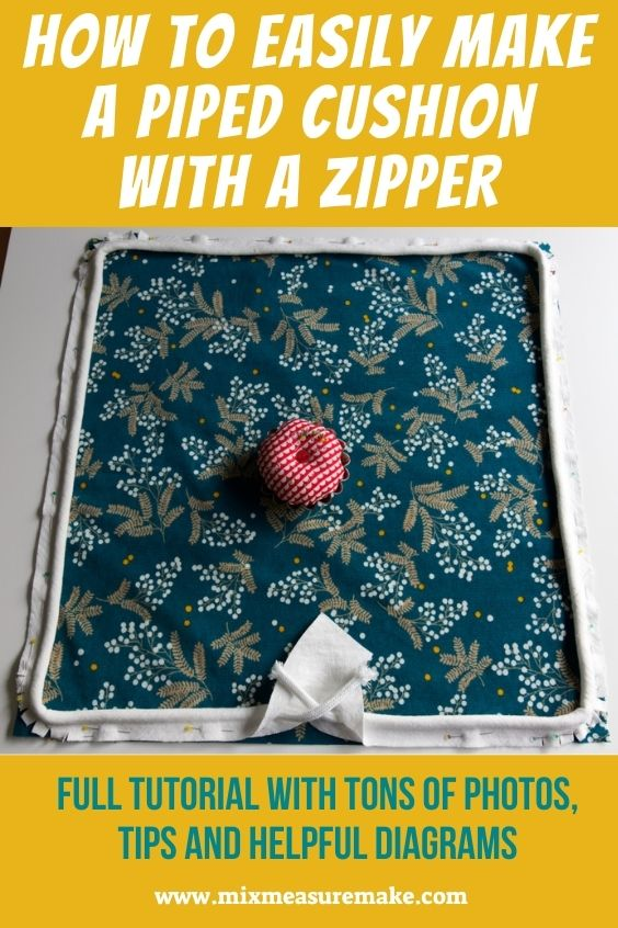Pinterest Graphic - Piped Cushion with Zip - progress photo of pinning on piping