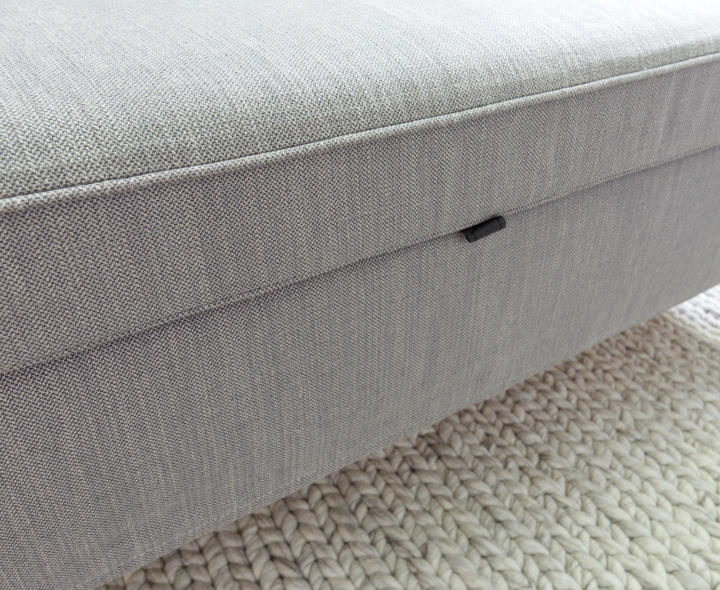 Piping on a long grey IKEA bench