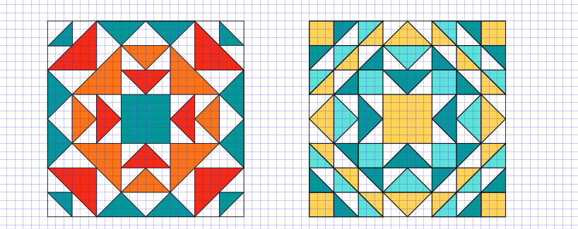 Two side by side digital barn quilt designs of squares and triangles. Left: 2 shades of orange and turquoise, right: Turquoise, aqua, yellow
