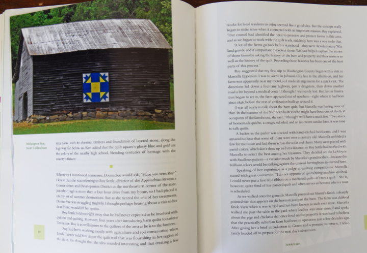 Interior pages of Barn Quilts (the book), showing a barn quilt on an old grey barn