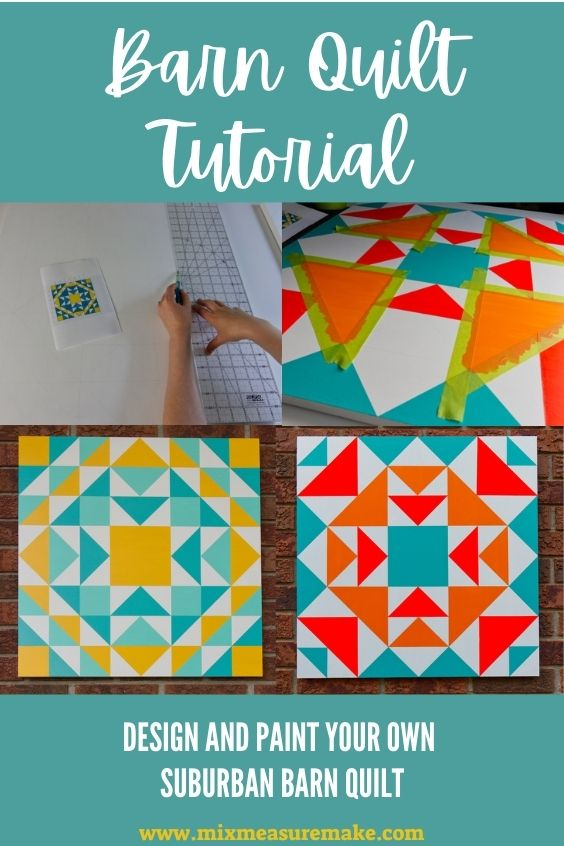 A suburban barn quilt tutorial Pinterest graphic showing two progress shots and a finished shot of both finished barn quilts