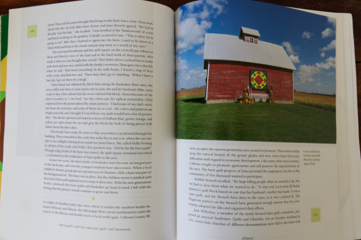 Interior pages of the Barn Quilts book, showing a colourful barn quilt on a red barn