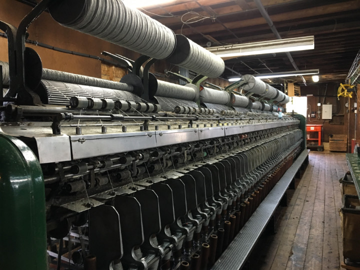 A really large piece of industrial equipment in the woollen mill