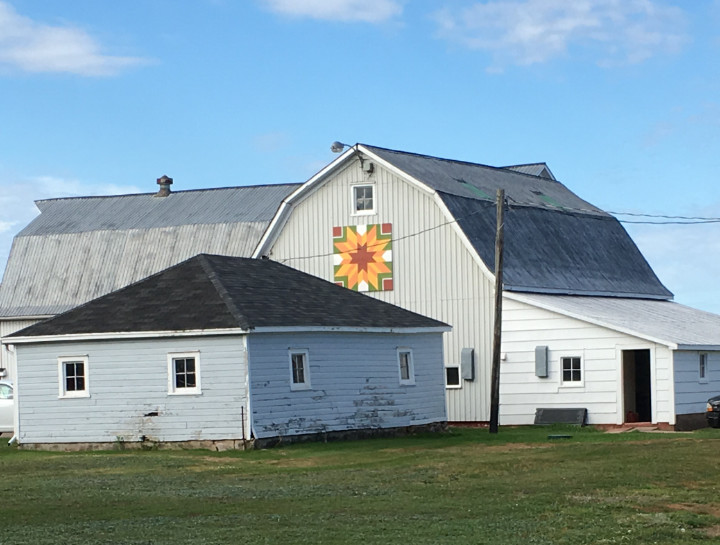 A flower-like barn quilt on a barn in PEI