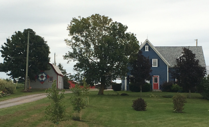 A blue red and white barn quilt on a small barn on PEI