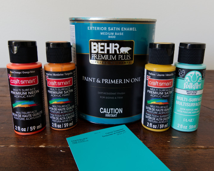 Craftsmart Multi Surface Paint in Neon Orange, Tangerine, and Yellow, FolkArt in Patina, and Behr Exterior in Caicos Turquoise