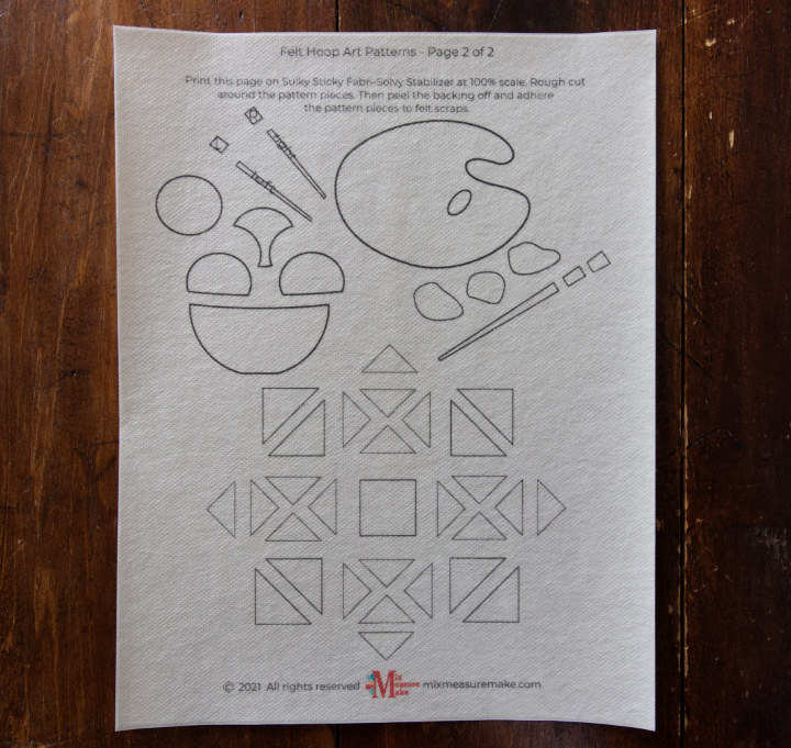 A printed stabilizer sheet for a free pattern