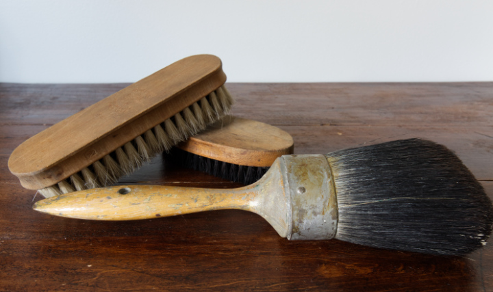 Three summer vintage finds. Two vintage wooden brushes for cleaning and a large vintage paintbrush with wood handle