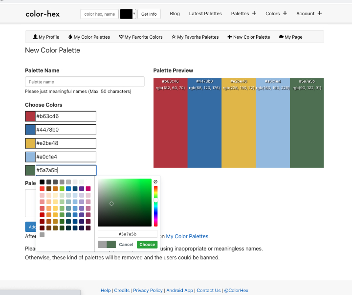 Color Hex website where you choose five colours to make your own palette