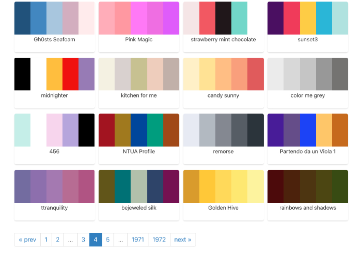 Color-hex website with examples of pages and pages of colour palettes for inspiration