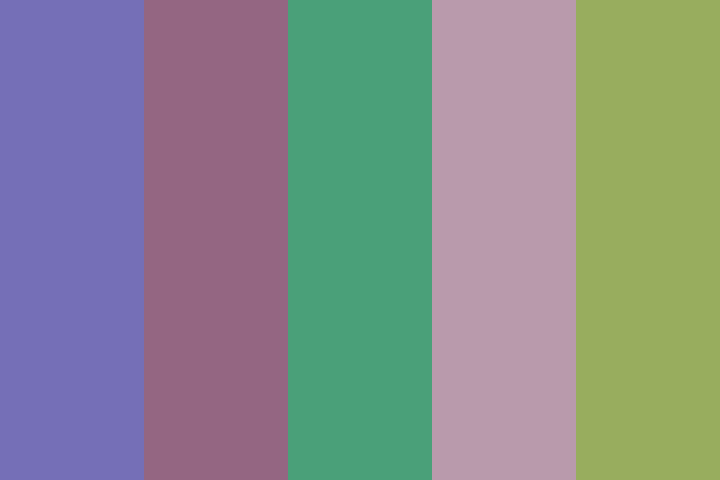 5 colours from left to right: Lavender, Mulberry, Ocean Kelp, Wisteria, and Pea Soup
