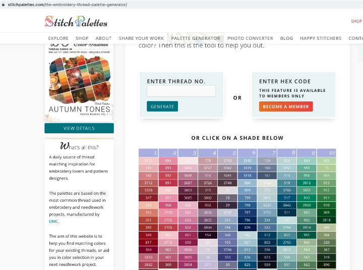 Stitch Palettes Generator - enter a floss number or choose a floss number from the large list
